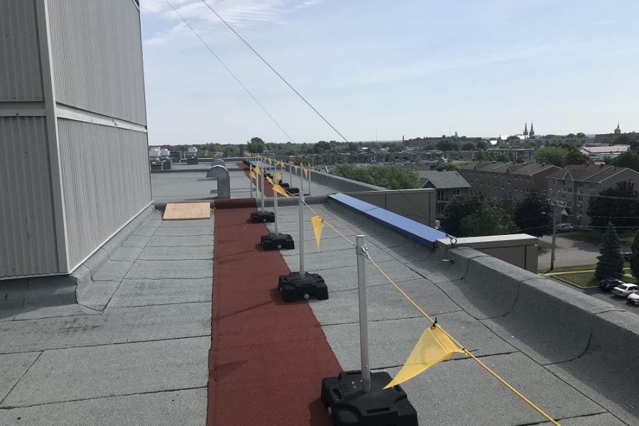 Freestanding roof warning line system, RSST compliant