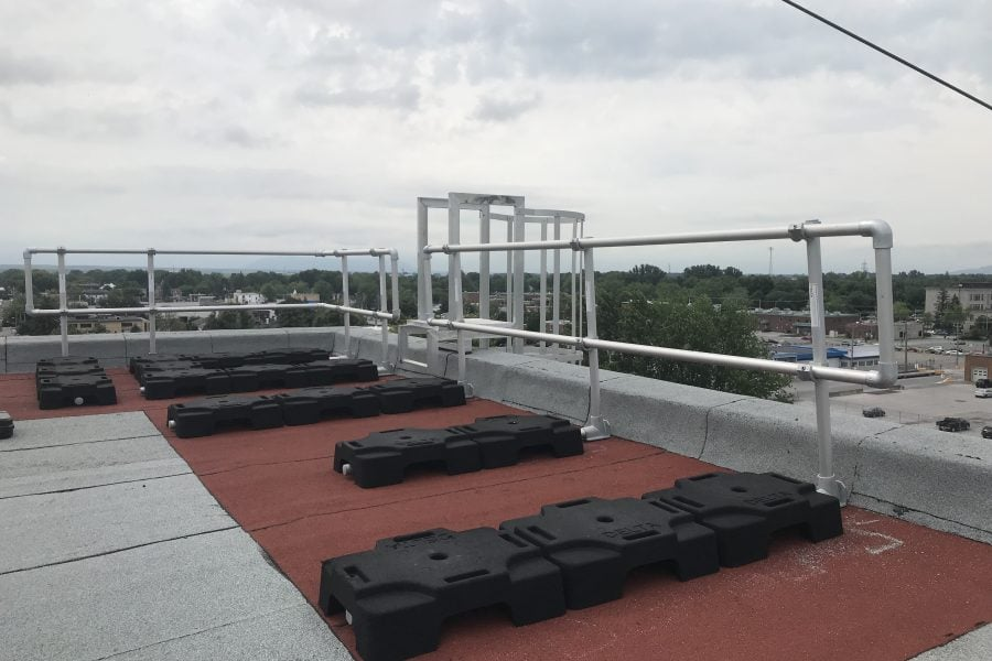 Roof warning line system and ladder fall protection