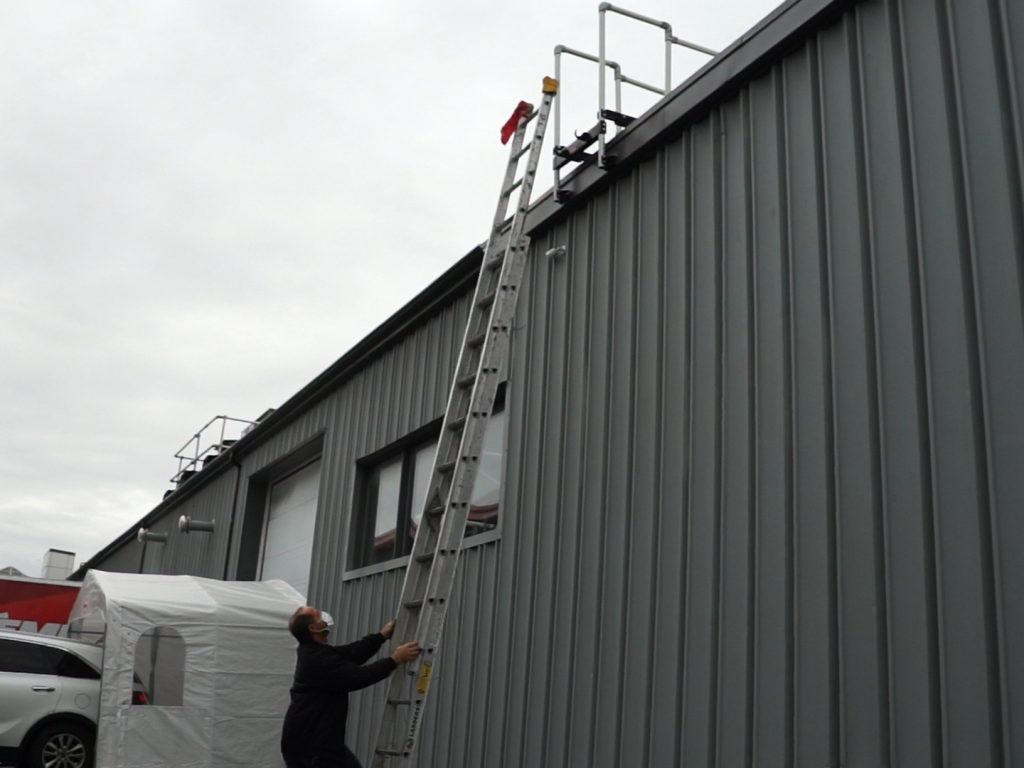 The ladder stabilizer creates a dedicated roof access