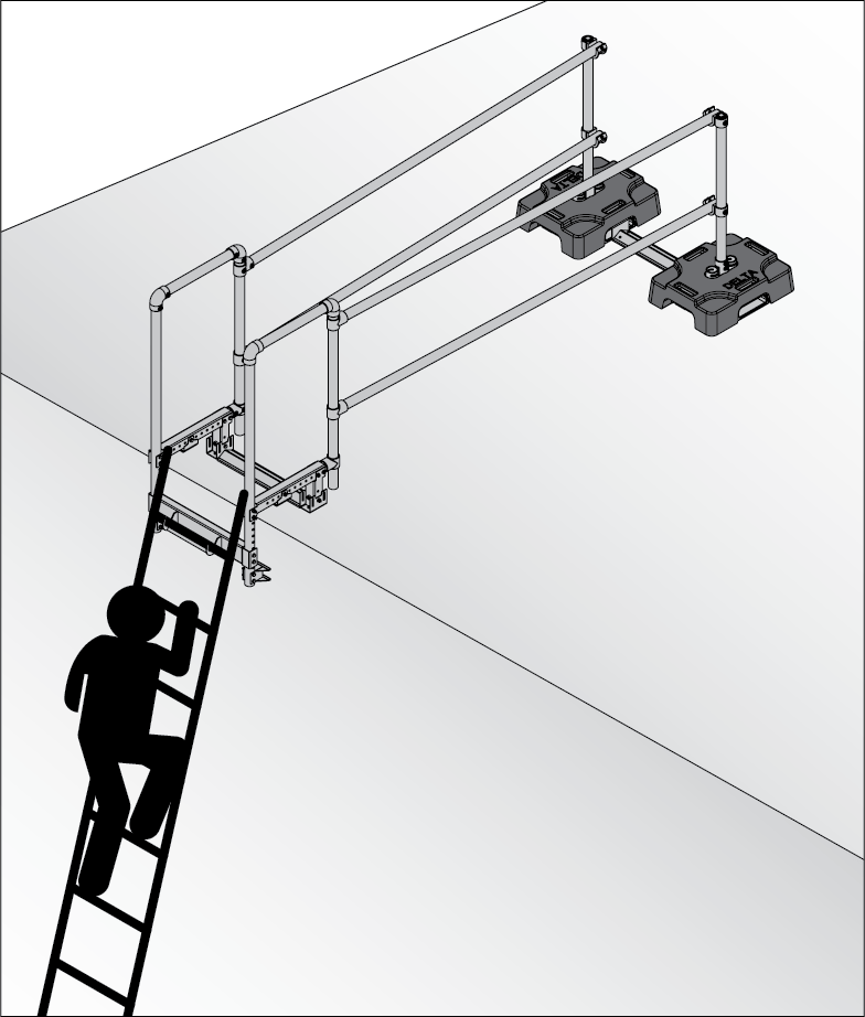 Using a ladder safely with a extension ladder access port