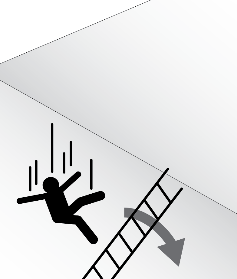 Fall from non stabilized ladder