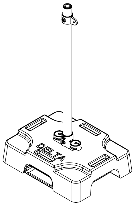 A post or stanchion for a rooftop fall protection bump line