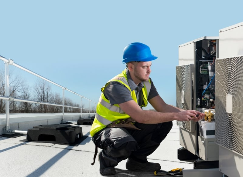 HVAC Safety With Roof Guard Rail