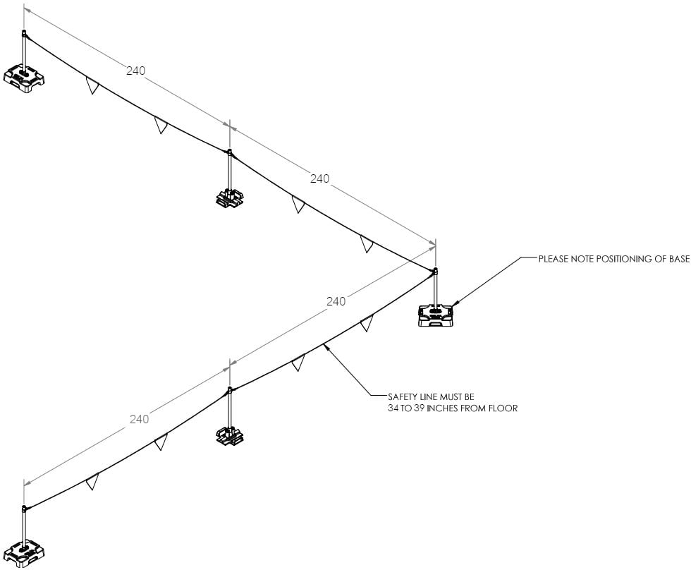 Technical drawing of freestanding bump line compliant with OSHA